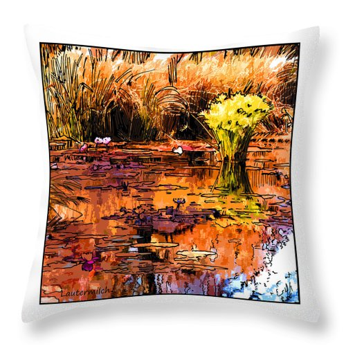 Garden Pond Throw Pillow featuring the digital art Fall on the Garden Pond by John Lautermilch
