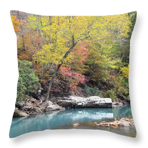 Fall Colors Throw Pillow featuring the photograph Fall On The River by Deanna Cagle