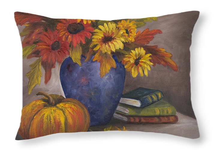 Fall Throw Pillow featuring the painting Fall Still Life by Darice Machel McGuire