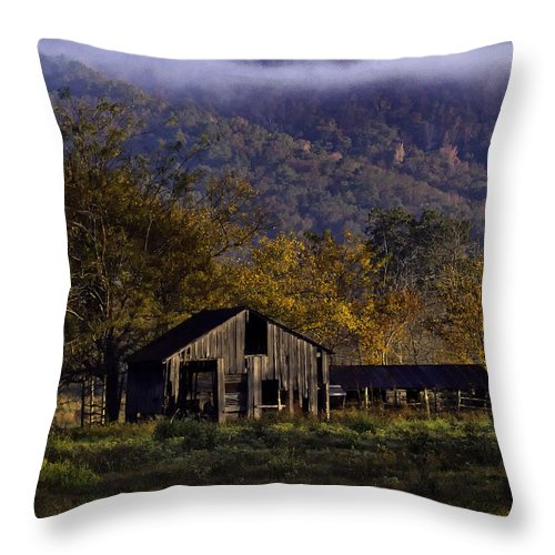 Old Barn Throw Pillow featuring the photograph Fall Sunrise Old Barn At 21/43 Intersection by Michael Dougherty