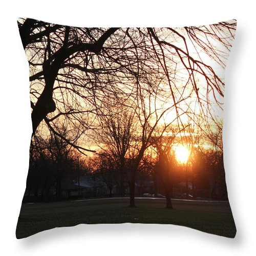 Sunset Throw Pillow featuring the photograph Fall Sunset Tree Silhouettes by Bill Woodstock