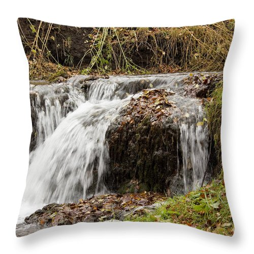 Waterfalls Throw Pillow featuring the photograph Fall Time Waterfalls by Lori Tordsen