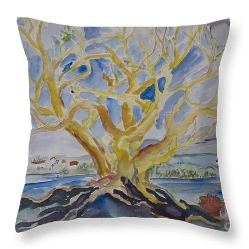 Tree Throw Pillow featuring the painting Fall Tree On The Rocks by Avonelle Kelsey
