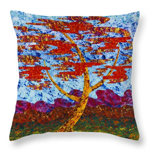 Abstract Throw Pillow featuring the painting Autumn Winds by Sean Corcoran