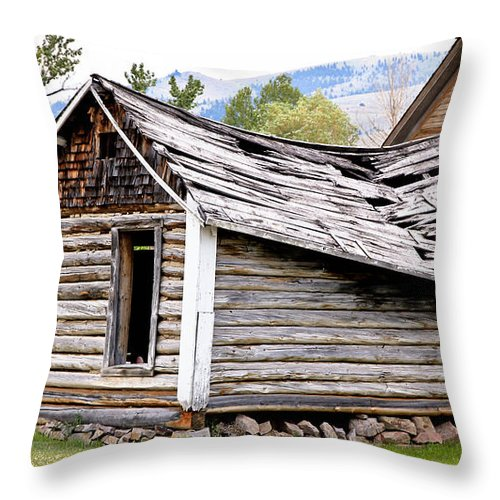 Cabin Throw Pillow featuring the photograph Fallen Homestead by Athena Mckinzie