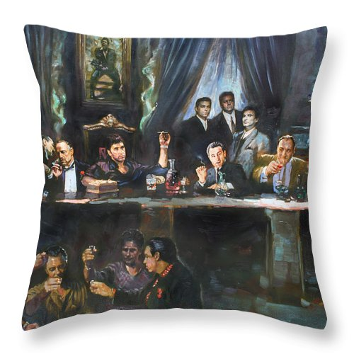 Gangsters Throw Pillow featuring the painting Fallen Last Supper Bad Guys by Ylli Haruni