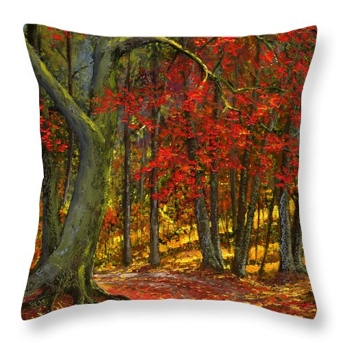 Landscape Throw Pillow featuring the painting Fallen Leaves by Frank Wilson