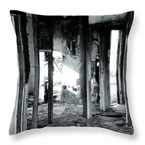 Ruin Throw Pillow featuring the photograph Fallen by Rory Sagner
