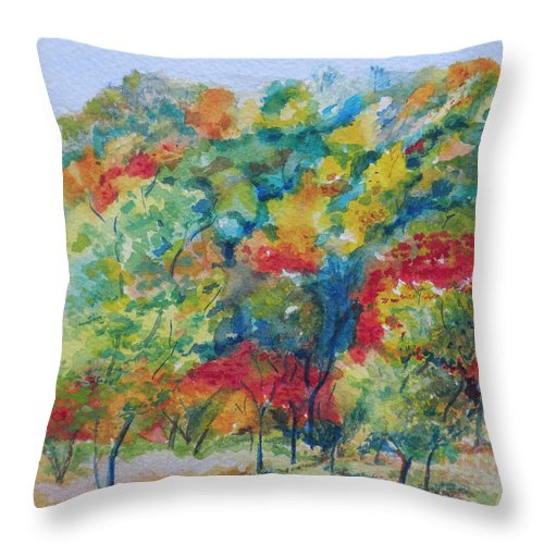 Landscape Throw Pillow featuring the painting Falling For You by Margo Wolfe