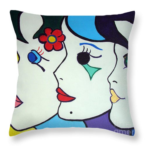 Pop-art Throw Pillow featuring the painting Falling In Love by Silvana Abel