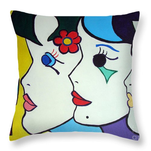 Pop Art Throw Pillow featuring the painting Falling In Love by Silvana Abel