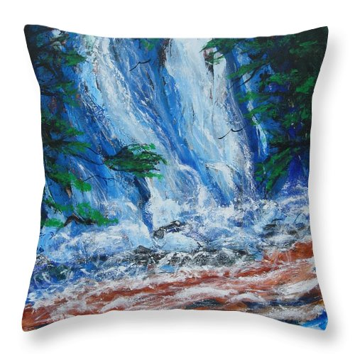 Nature Throw Pillow featuring the painting Waterfall In The Forest by Diane Pape