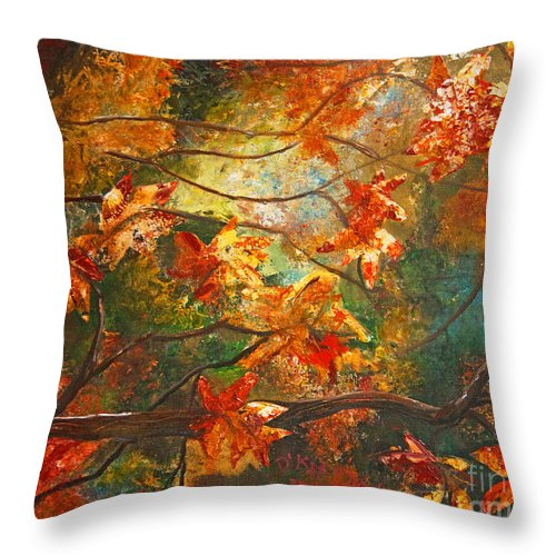 Landscape Throw Pillow featuring the painting Fall's Light by Kat Solinsky