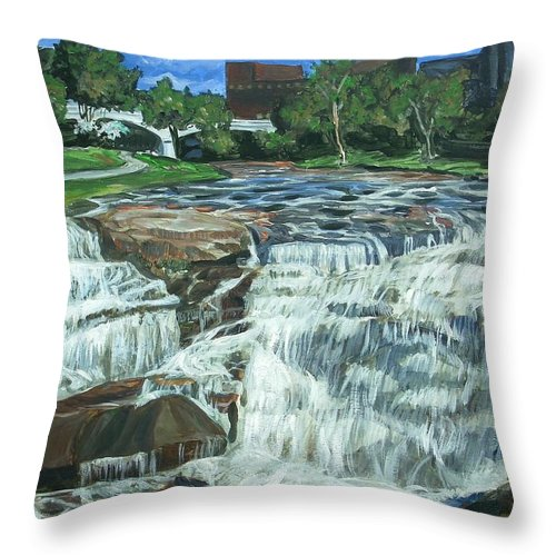 Waterfall Throw Pillow featuring the painting Falls River Park by Bryan Bustard