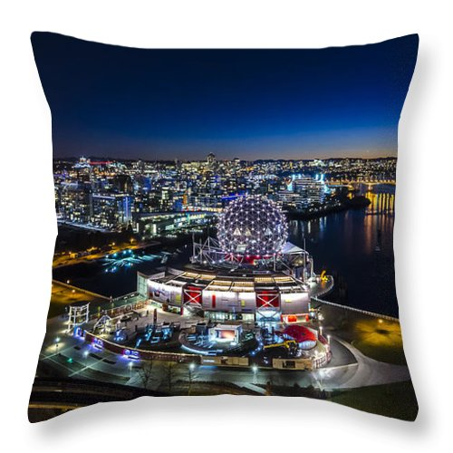 Vancouver Throw Pillow featuring the photograph Vancouver Science World by Andrew Campbell