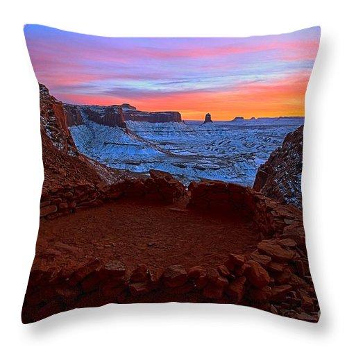 False Kiva Throw Pillow featuring the photograph False Kiva Sunset by Adam Jewell