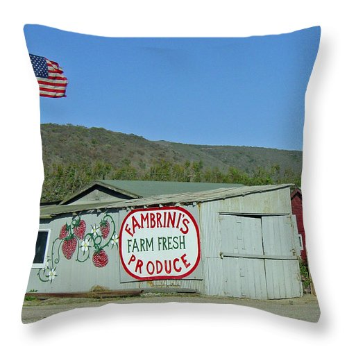 Farm Fresh Produce Throw Pillow featuring the photograph Fambrini's Farm Fresh Produce by Suzanne Gaff