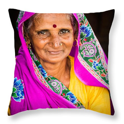 Indian Throw Pillow featuring the photograph Familiar Eyes by Joshua Van Lare