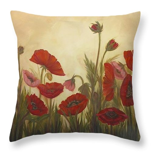 Mishel Vanderten Throw Pillow featuring the painting Family Affair by Mishel Vanderten