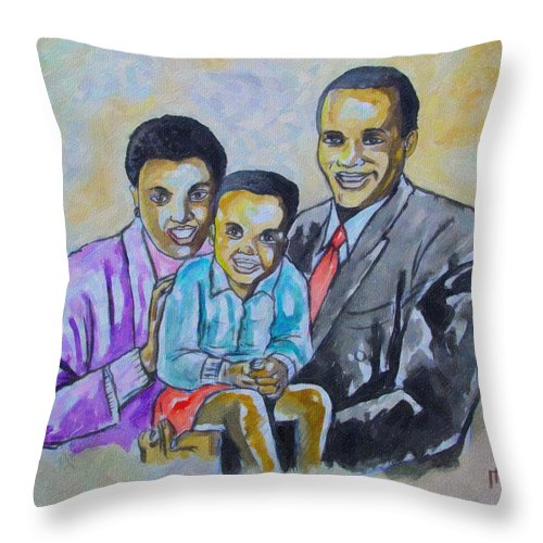 Family Throw Pillow featuring the drawing Family by Anthony Mwangi