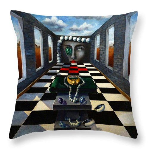 Surreal Landscape Throw Pillow featuring the painting Family Jewels by Valerie Vescovi