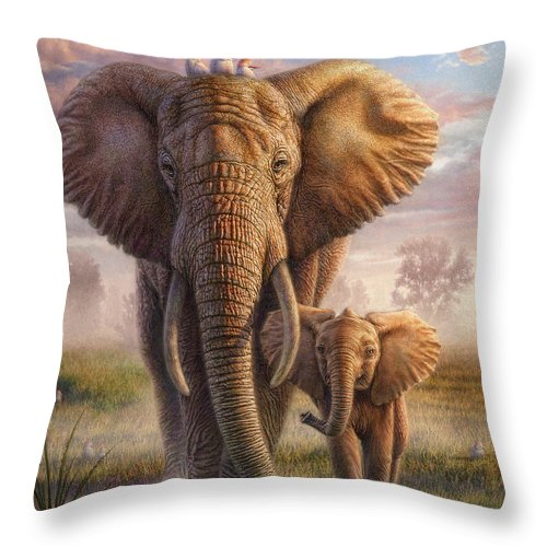 Elephant Throw Pillow featuring the mixed media Family Stroll by Phil Jaeger