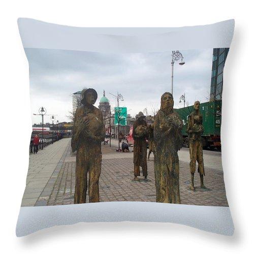 Statue Throw Pillow featuring the photograph Famine Monument Dublin Ireland by Barbara McDevitt