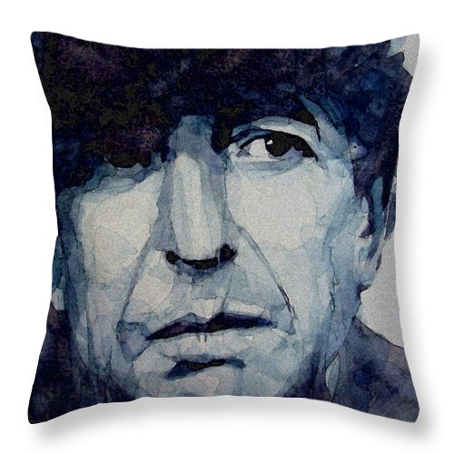 Leonard Cohen Throw Pillow featuring the painting Famous Blue raincoat by Paul Lovering