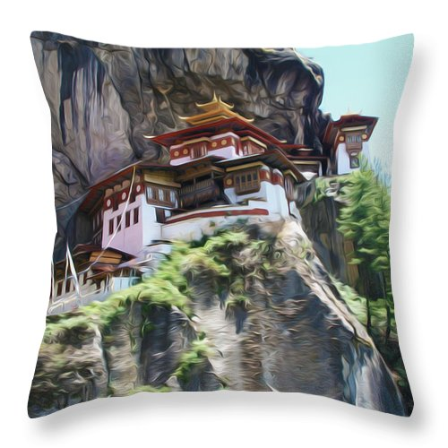 Famous Tigers Nest Monastery Of Bhutan Throw Pillow featuring the painting Famous Tigers Nest Monastery Of Bhutan 7 by Jeelan Clark