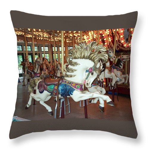 Carousel Throw Pillow featuring the photograph Fancy Flashy Pony -ri by Barbara McDevitt