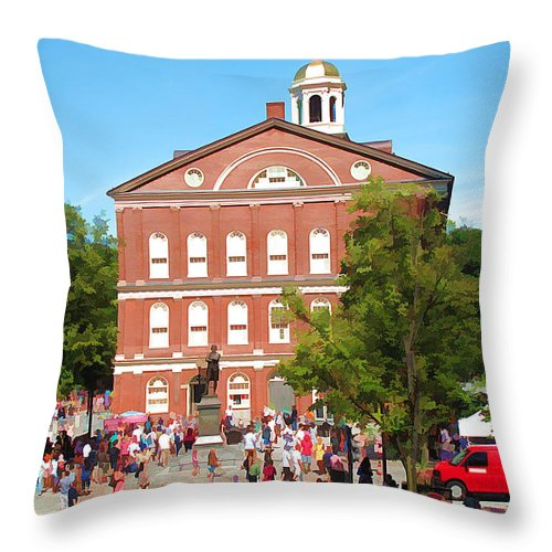 Historic Throw Pillow featuring the photograph Faneuil Hall Cradle Of Liberty by Barbara McDevitt