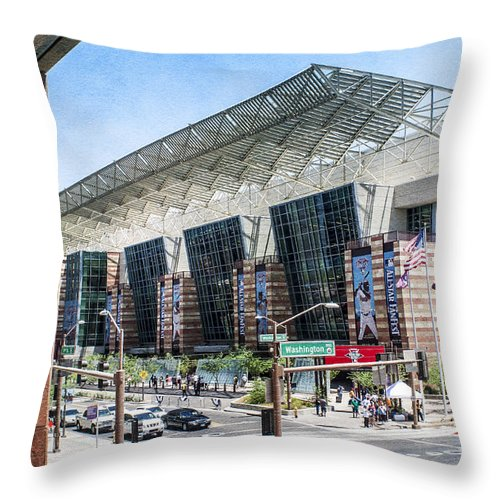 Fred Larson Throw Pillow featuring the photograph Fanfest Downtown Phoenix by Fred Larson