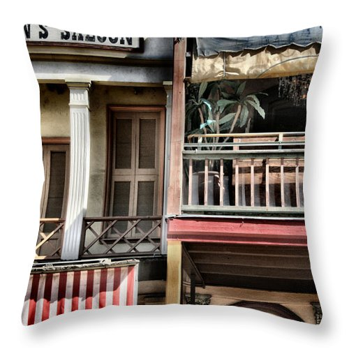 Western Throw Pillow featuring the photograph Fanny Anne's Saloon by Sally Bauer
