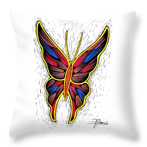Butterfly Throw Pillow featuring the drawing Fantasy Butterfly by Jim Harris