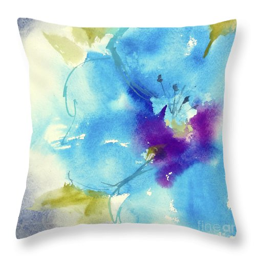 Original Watercolors Throw Pillow featuring the painting Fantasy Flower II by Chris Paschke