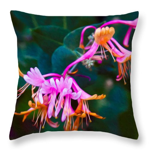 North Cascades Throw Pillow featuring the painting Fantasy Flowers by Omaste Witkowski