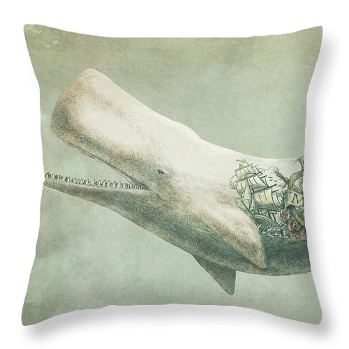 Whale Throw Pillow featuring the drawing Far and Wide by Eric Fan