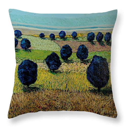 Landscape Throw Pillow featuring the painting Faraway Field by Allan P Friedlander