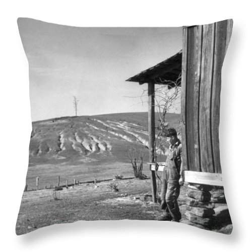 1937 Throw Pillow featuring the photograph Farm Erosion, 1937 by Granger