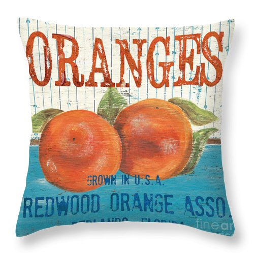 Food Throw Pillow featuring the painting Farm Fresh Fruit 2 by Debbie DeWitt