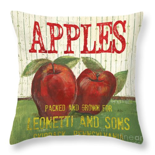 Food Throw Pillow featuring the painting Farm Fresh Fruit 3 by Debbie DeWitt