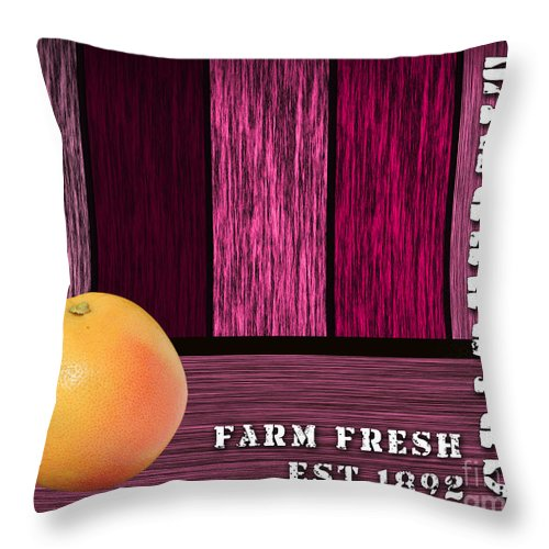 Grapefruit Paintings Mixed Media Throw Pillow featuring the mixed media Farm Fresh by Marvin Blaine