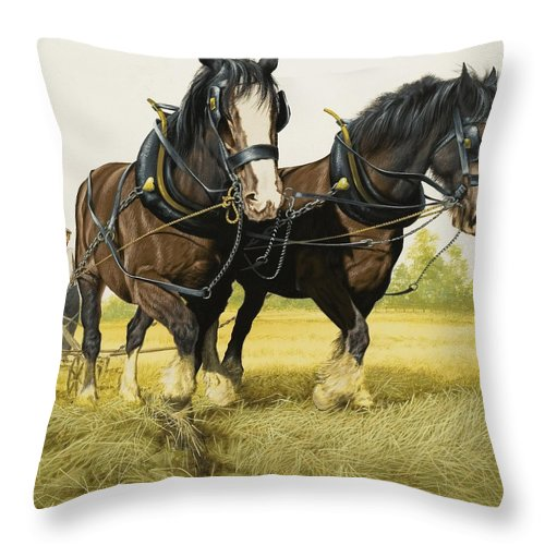 Horse Throw Pillow featuring the painting Farm Horses by David Nockels