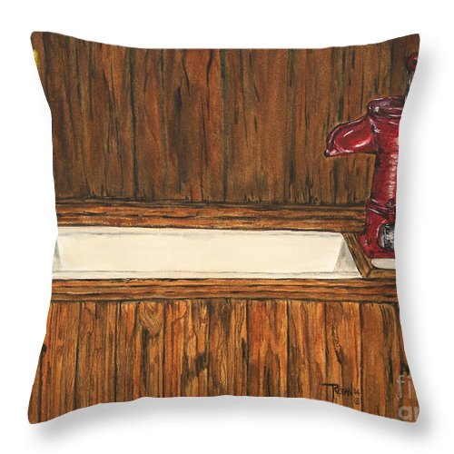 Farm Sink Throw Pillow featuring the painting Farm Sink by Regan J Smith