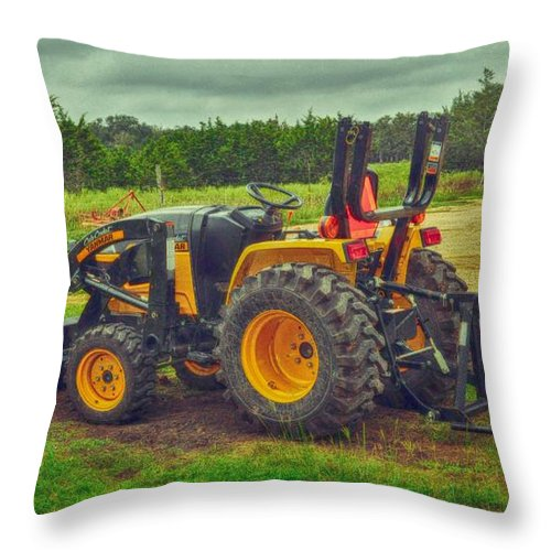 Transportation Print Throw Pillow featuring the photograph Farm Tractor by Kristina Deane