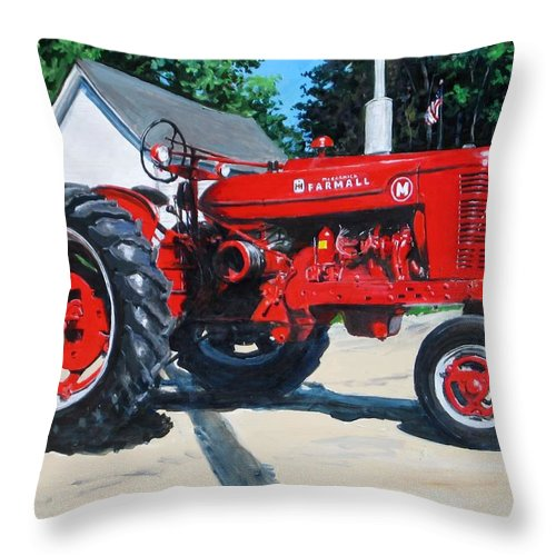 Tractor Throw Pillow featuring the painting Farmall M by William Brody
