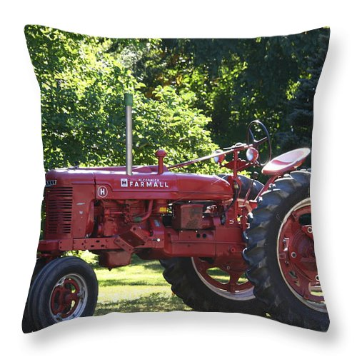 Tractor Throw Pillow featuring the photograph Farmall's End Of Day by Denyse Duhaime