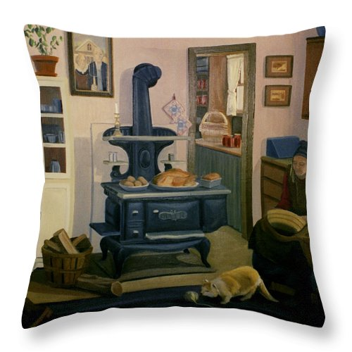 Farm Throw Pillow featuring the painting Farmhouse In Autumn 1990 by Nancy Griswold
