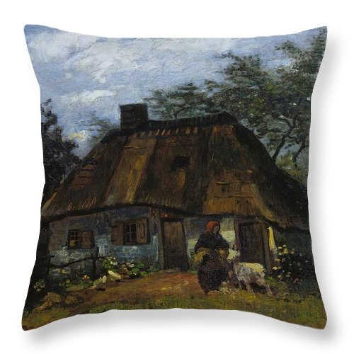 1885 Throw Pillow featuring the painting Farmhouse In Nuenen by Vincent van Gogh