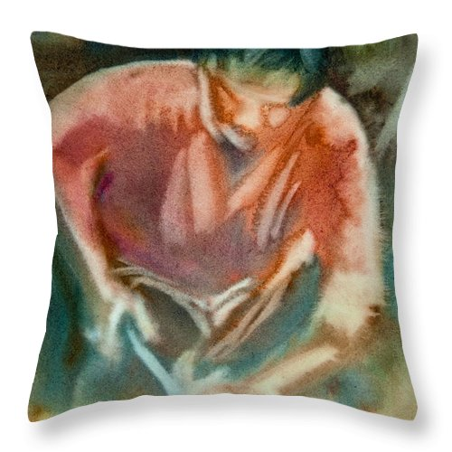 Horse Art Throw Pillow featuring the painting Farrier Wip by Jani Freimann